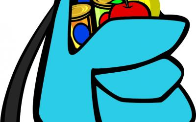blue backpack with fruits and canned goods in the top