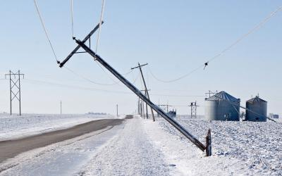 A downed rural power line following an ice storm.