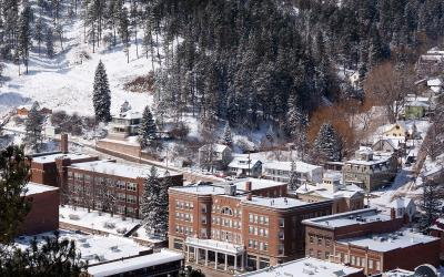 Winter in downtown Deadwood, South Dakota.