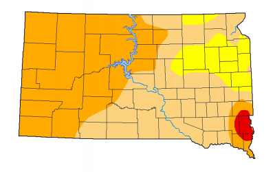 Color-coded drought monitor map of South Dakota. As of February 23, all of South Dakota is facing abnormally dry to severe drought conditions.