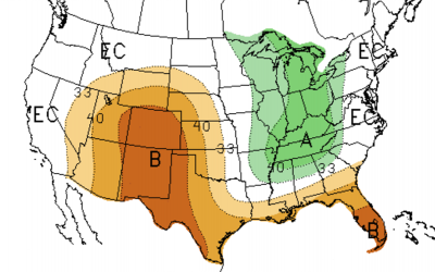 Color-coded map of the United States indicating precipitation outlook for March 2021.