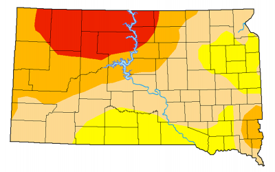 Color-coded drought monitor map of South Dakota. As of April eighth, Northeast South Dakota is facing extreme drought, while the rest of the state is under abnormally dry to severe drought conditions.